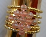 Healthy Hearts Gold Bead Rings with Delicate Cherry Quartz Stones