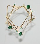 Stacked 14k Gold-filled and Jade Geometric Angular Bangles