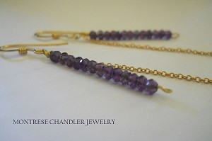 Amethyst Two-Tier Gold Drop Earrings (Montrese Chandler Healthy Hearts Collection)