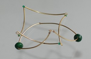 Double 14k Gold-filled and Jade Geometric Angular Bangle Bracelets