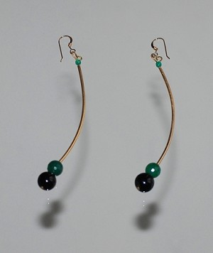 C-Curve 14k Gold-filled Earrings with Onyx, Agate and Jade Detail