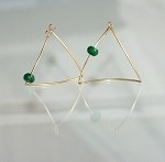 Asymmetrical 14K Gold-Filled and Jade Earrings