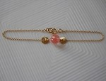 Healthy Hearts Single Cherry Quartz Stone Chain Bracelet