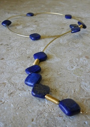 Lapis and 14k Gold-filled Drop Choker