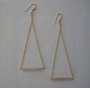 Healthy Hearts Triangle Drop 14k Gold-Filled Earrings with Delicate Quartz Stones