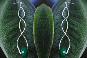 Silver Tiered Earrings with Jade Drop